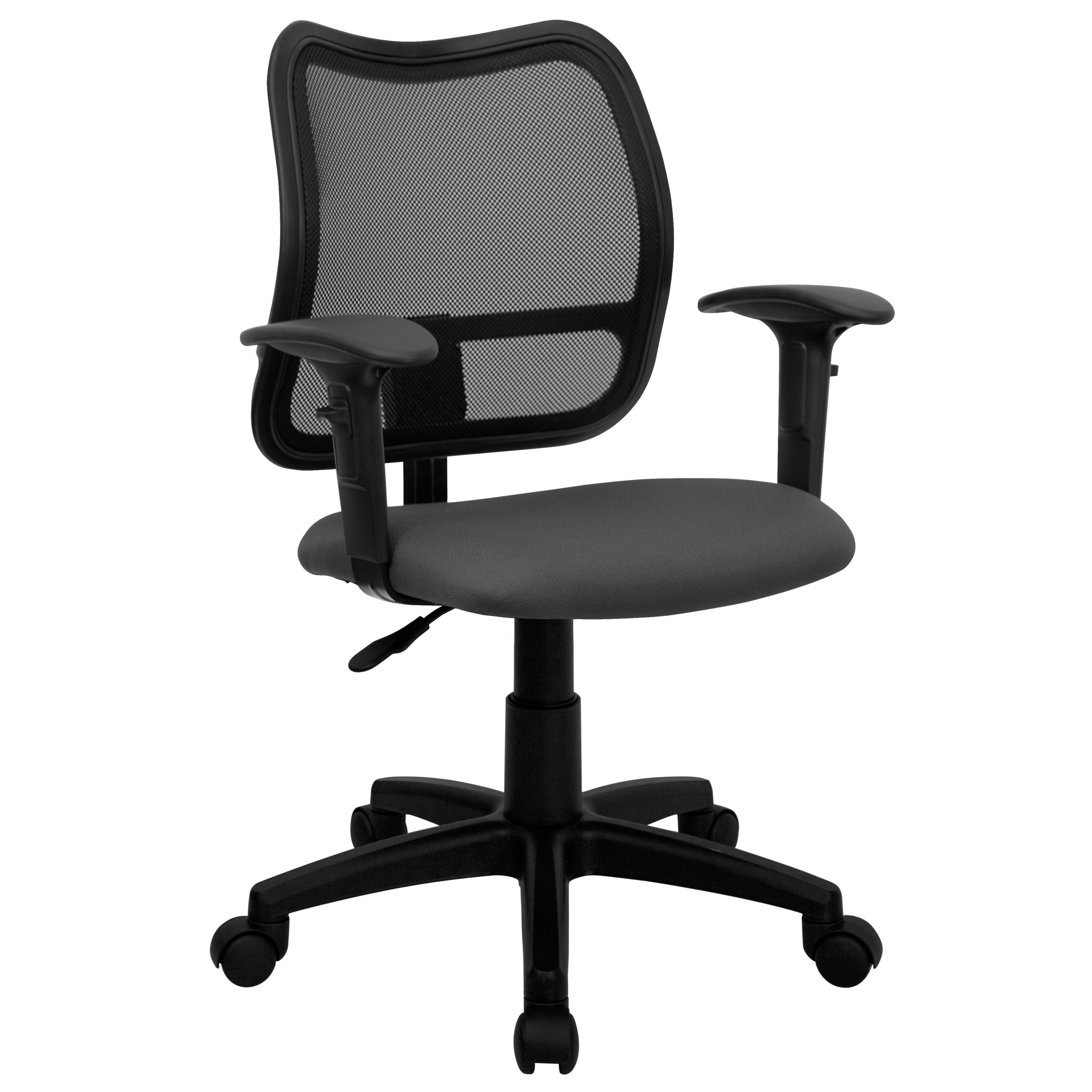 Flash Furniture WL-A277-GY-A-GG Contemporary Mesh Task Chair Gray Fabric Seat and Arms