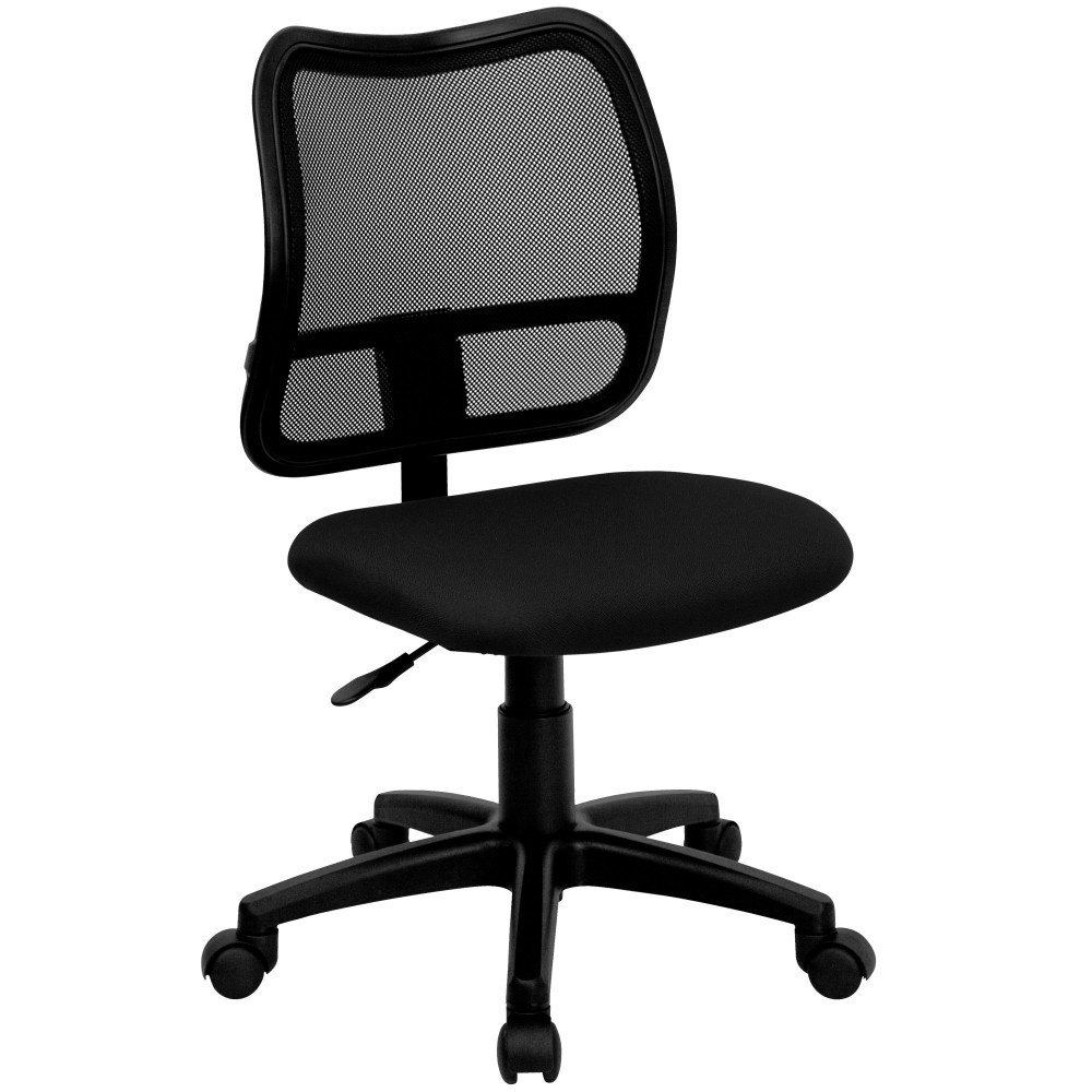 Contemporary Mesh Task Chair - Black Fabric Seat