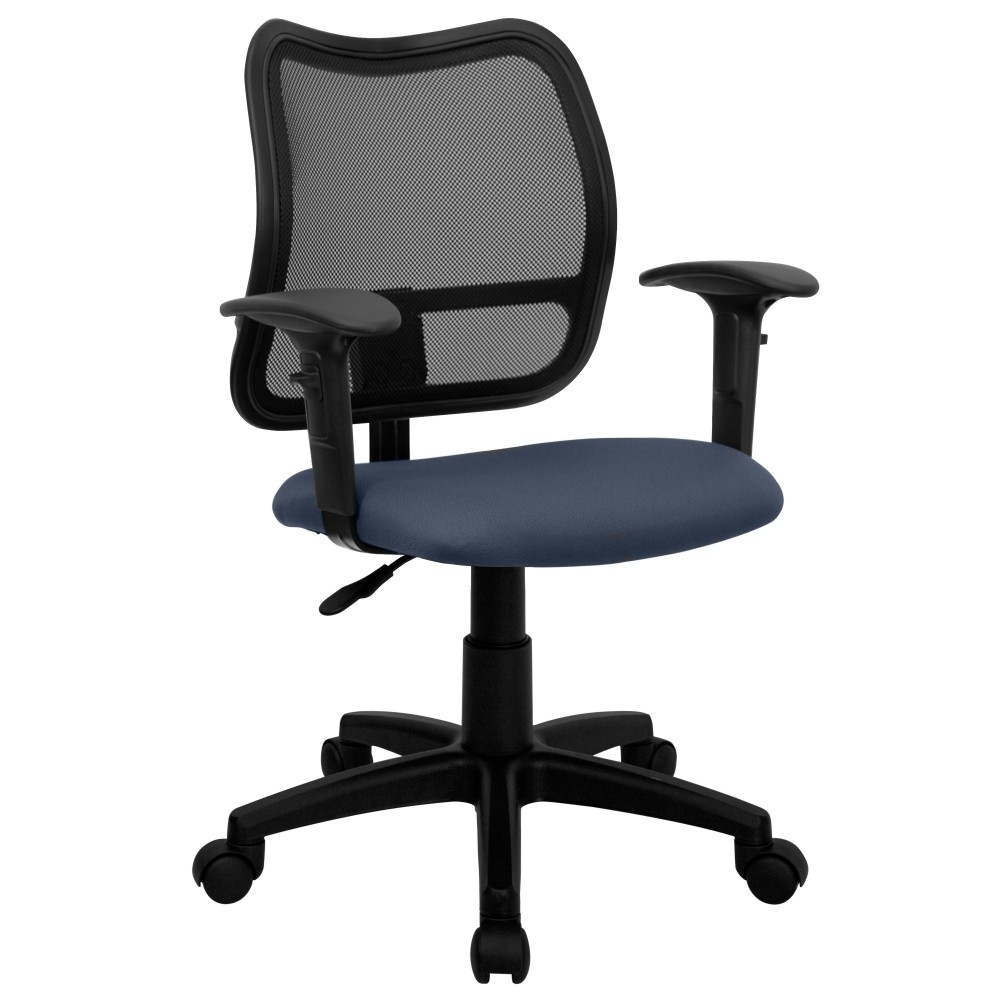 Contemporary Mesh Task Chair - Navy Blue Fabric Seat, Arms