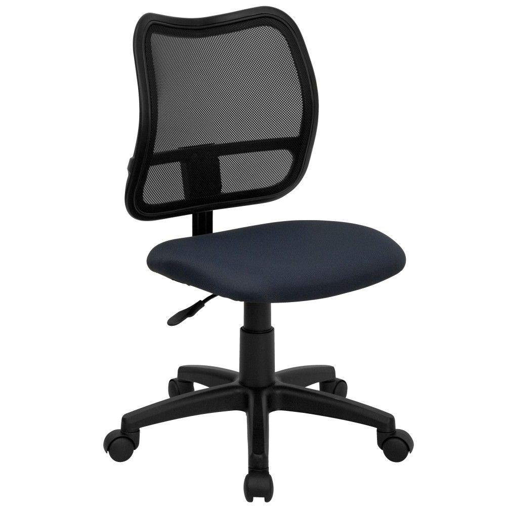 Contemporary Mesh Task Chair - Navy Blue Fabric Seat