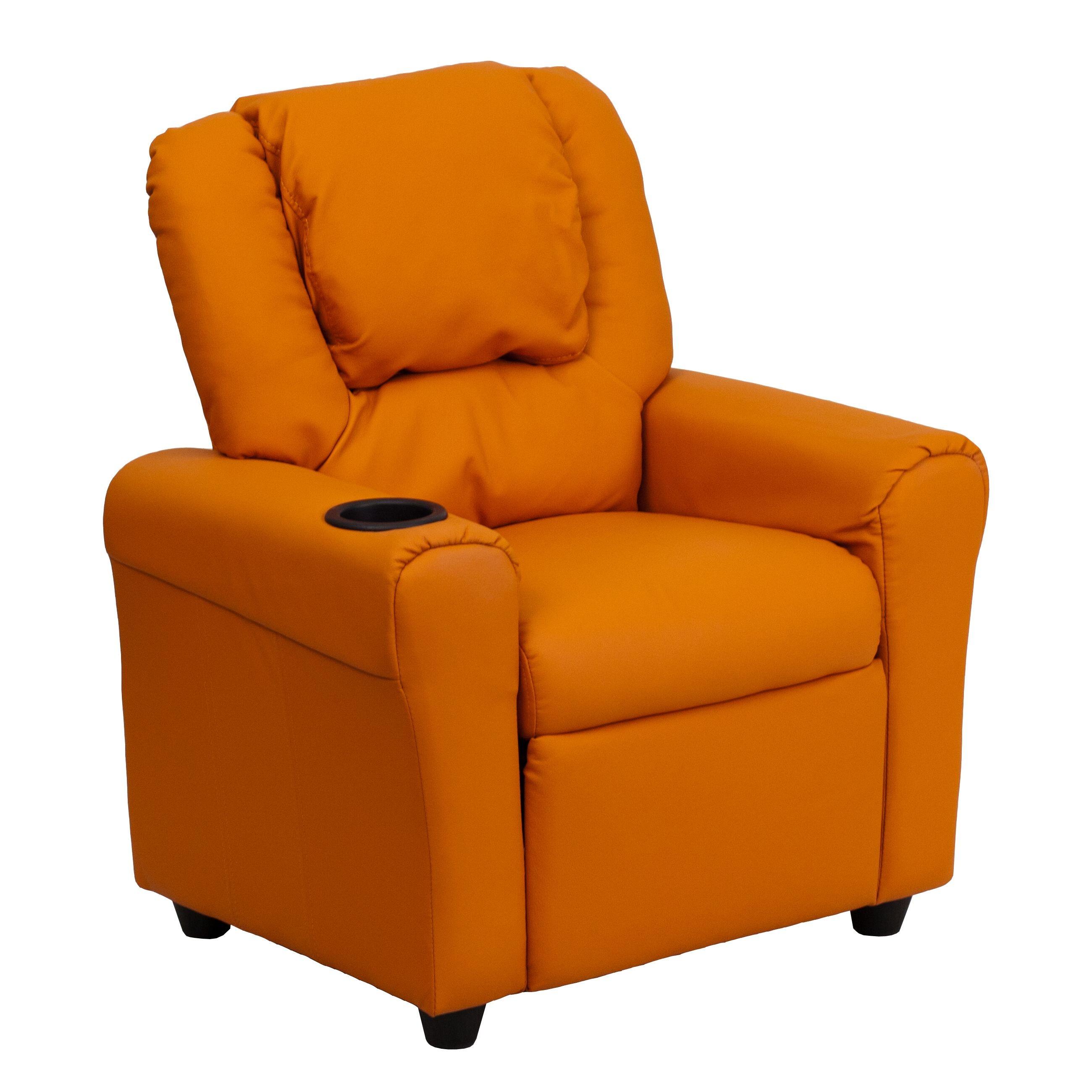 Flash Furniture DG-ULT-KID-ORANGE-GG Contemporary Orange Vinyl Kids Recliner with Cup Holder and Headrest