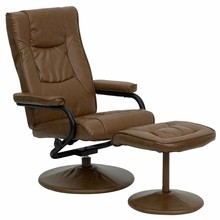 Flash Furniture BT-7862-PALIMINO-GG Contemporary Palimino Leather Recliner and Ottoman with Leather Wrapped Base