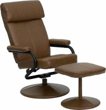 Flash Furniture BT-7863-PALOMINO-GG Contemporary Palomino Leather Recliner and Ottoman with Leather Wrapped Base