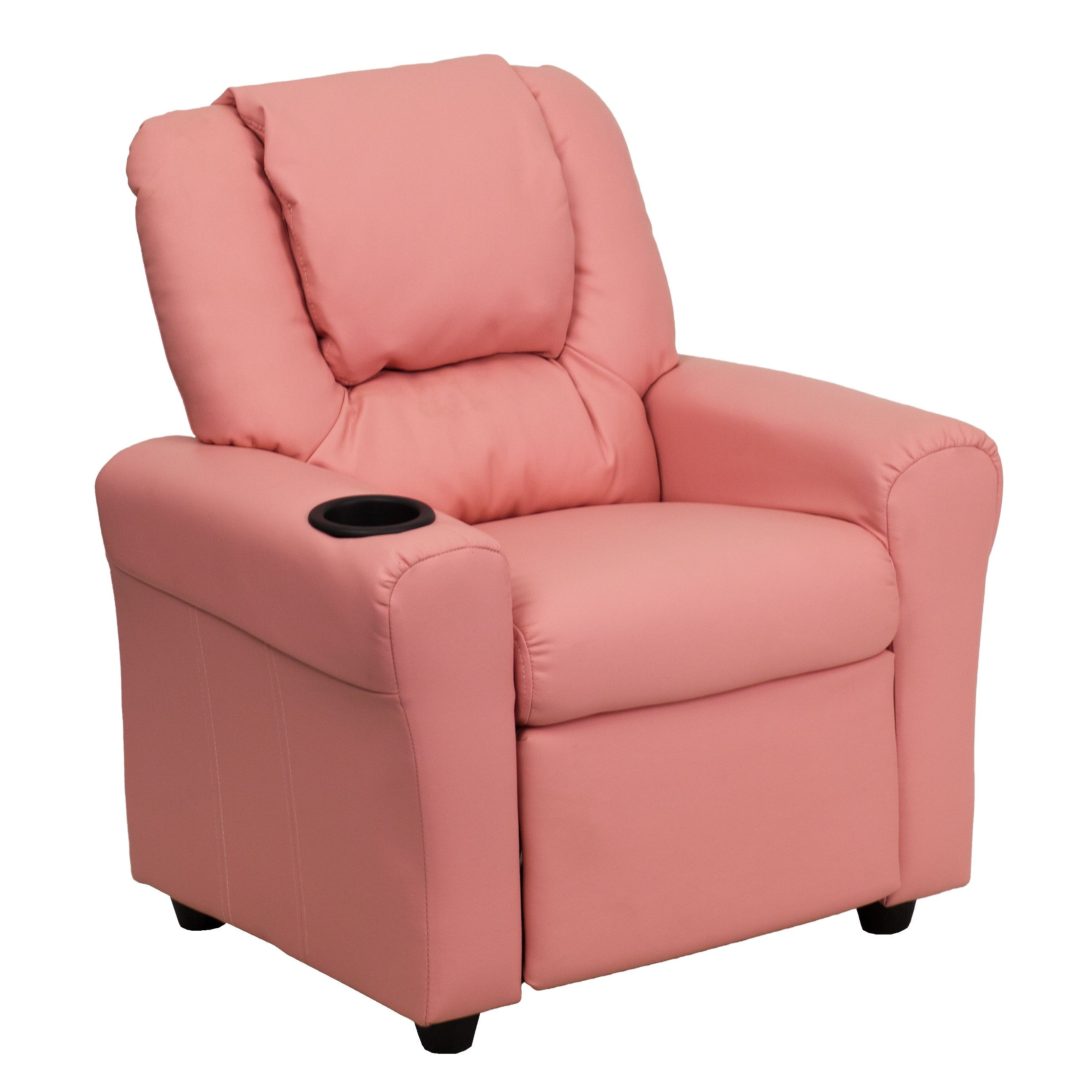 Flash Furniture DG-ULT-KID-PINK-GG Contemporary Pink Vinyl Kids Recliner with Cup Holder and Headrest