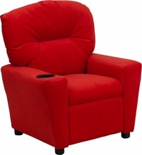 Flash Furniture BT-7950-KID-MIC-RED-GG Contemporary Red Microfiber Kids Recliner with Cup Holder