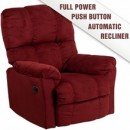 Contemporary Top Hat Berry Microfiber Power Recliner