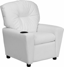 Flash Furniture BT-7950-KID-WHITE-GG Contemporary White Vinyl Kids Recliner with Cup Holder