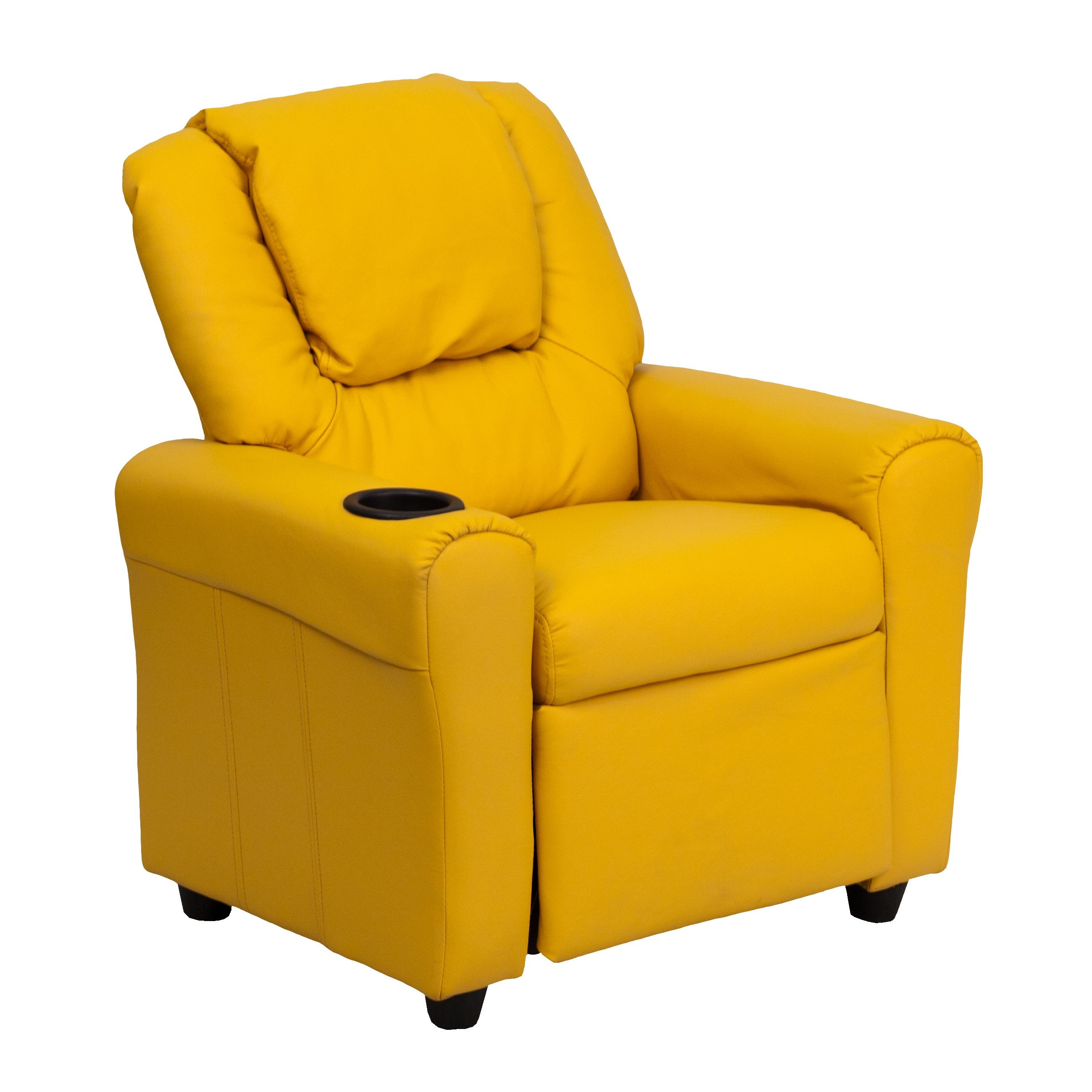 Flash Furniture DG-ULT-KID-YEL-GG Contemporary Yellow Vinyl Kids Recliner with Cup Holder and Headrest