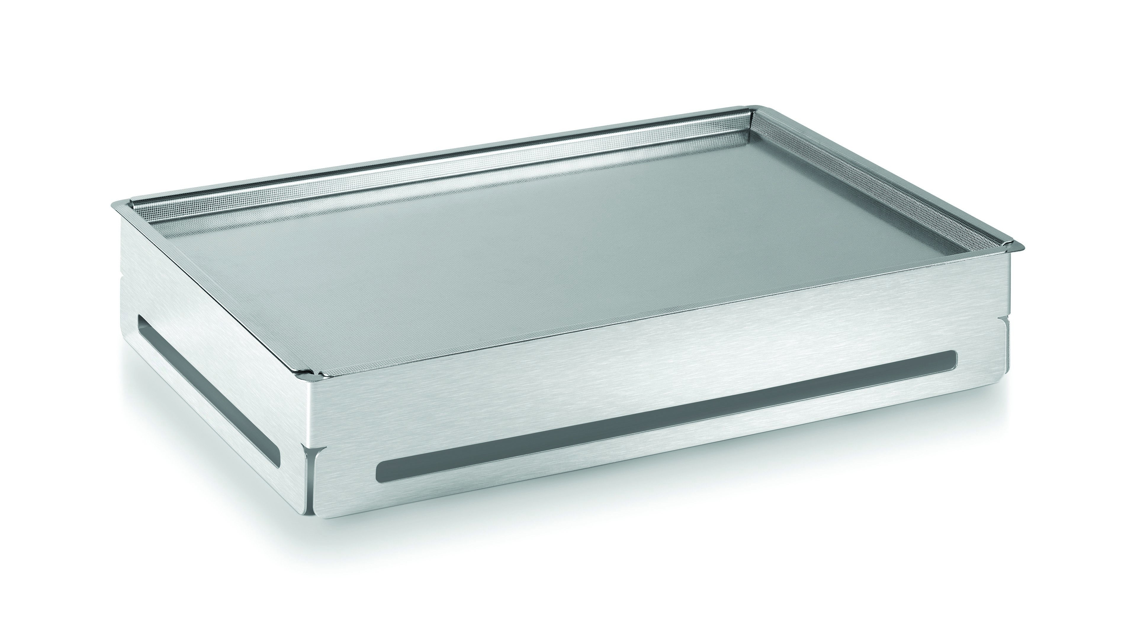 "Rosseto SM144 Rectangular Stainless Steel Cooler Buffet Set With Tray & Insert 21.75"" x 14.75"" x 4""H"
