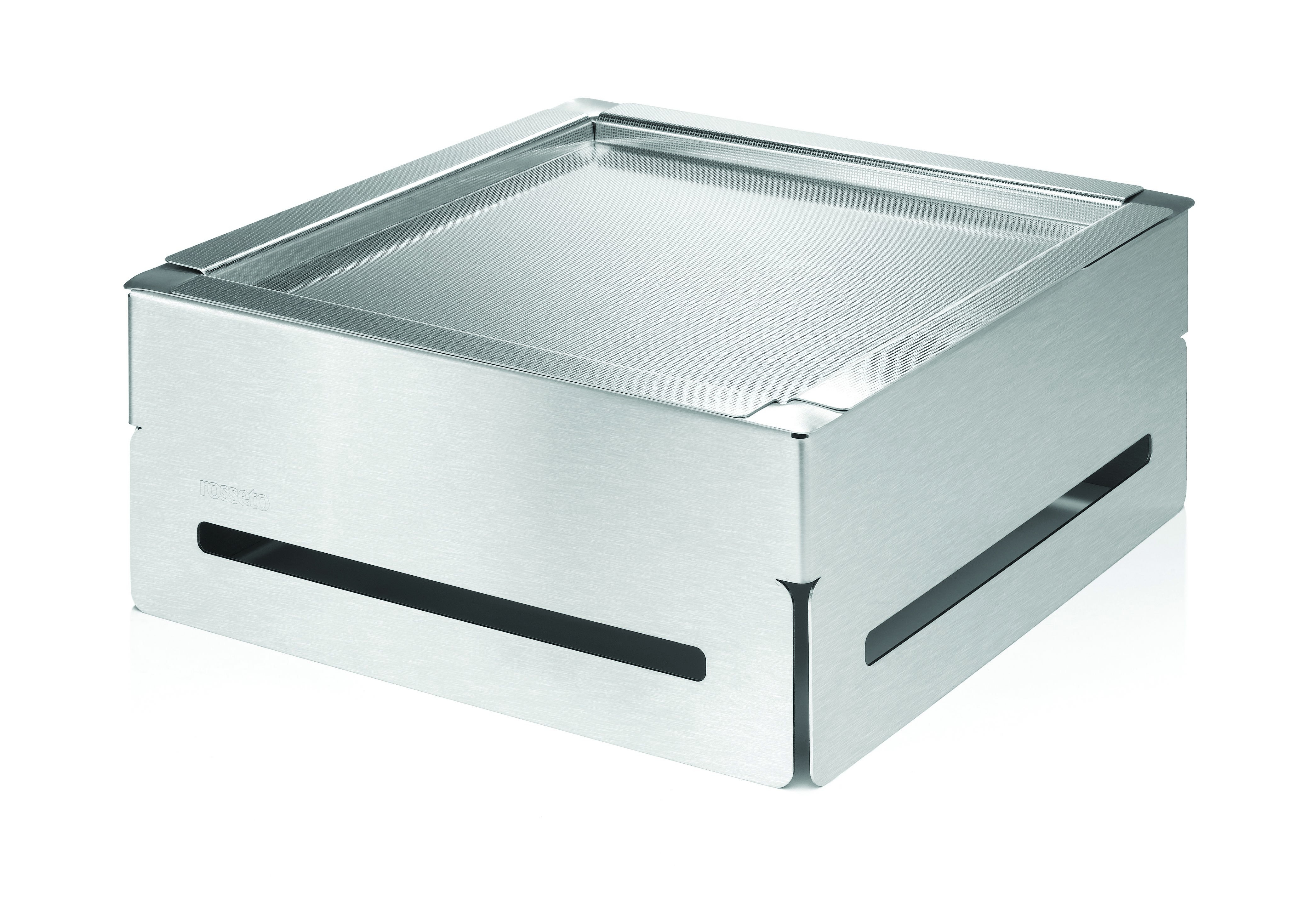 "Rosseto SM163 Square Stainless Steel Cooler Buffet Set With Tray & Insert 14.25"" x 14.25"" x 6.5""H"