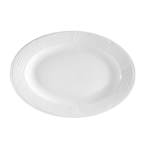 "CAC China CRO-12 Porcelain Embossed Corona 10"" x 6-3/4"" Oval Platter,"