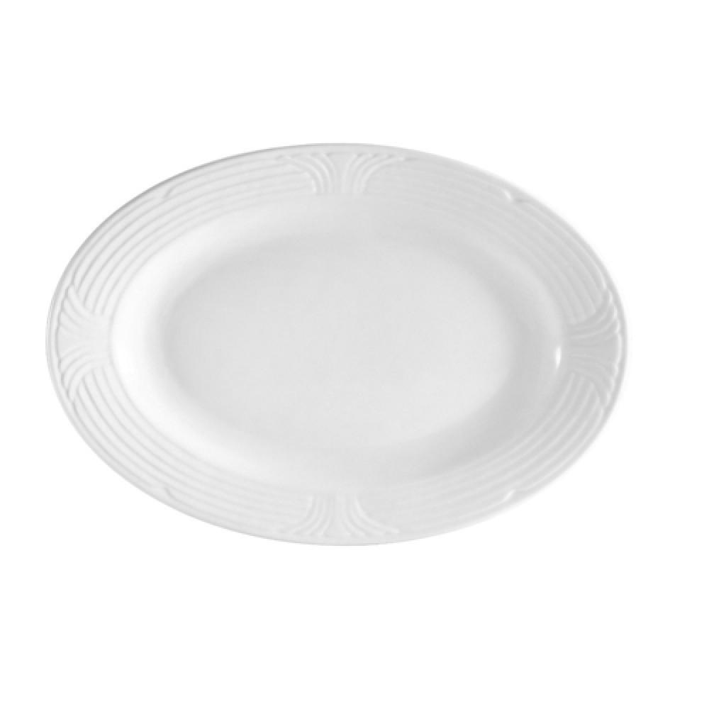 "CAC China CRO-13 Porcelain Embossed Corona 11-3/4"" x 7-3/4"" Oval Platter,"