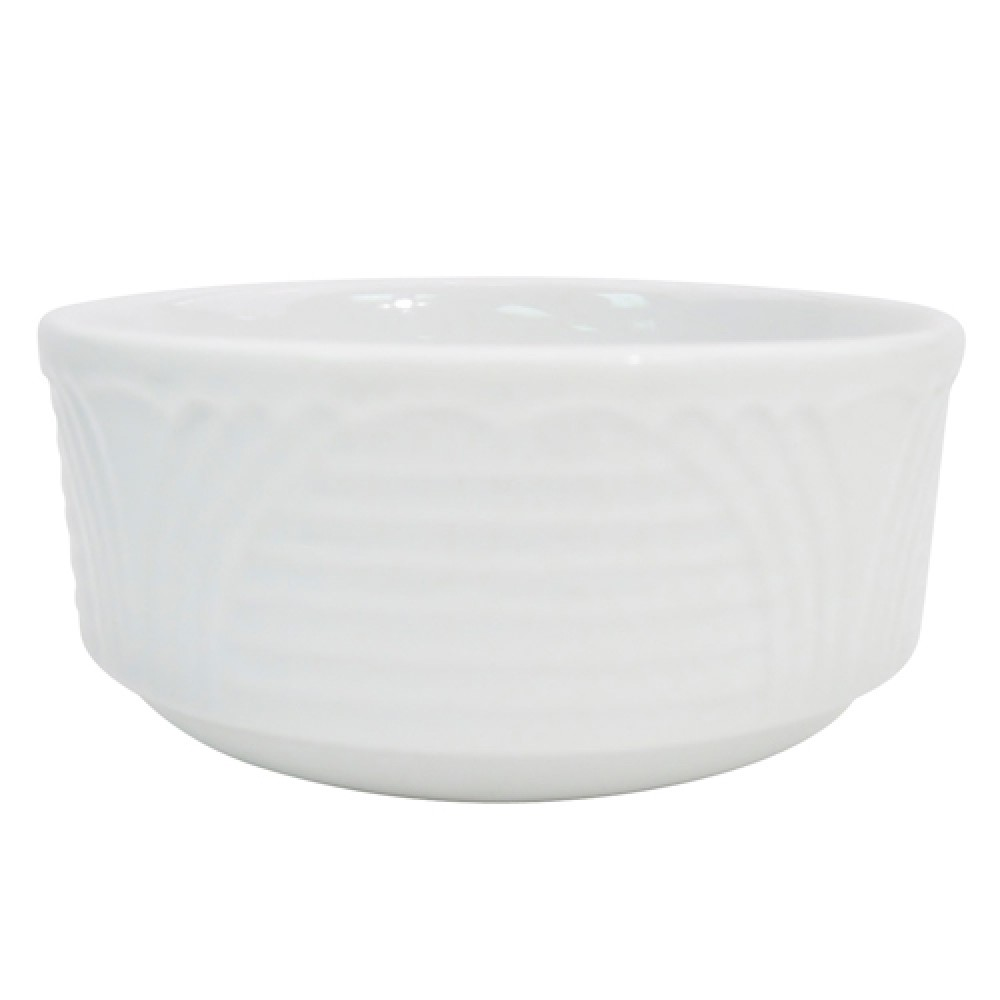CAC China CRO-4 Porcelain Embossed Corona 7.5 oz. Bouillion