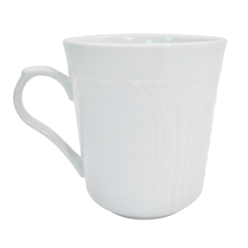 CAC China CRO-17 Porcelain Embossed Corona Mug, 8 oz.