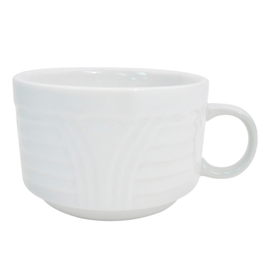 CAC China CRO-1-S Porcelain Embossed Corona Stacking Cup 8 oz.