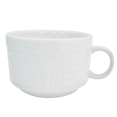 CAC China CRO-1-S Corona Porcelain Stacking Cup 8 oz.