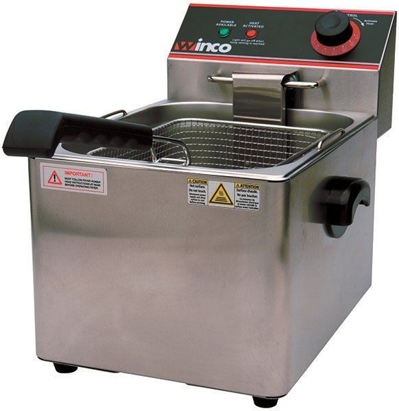 Winco EFS-16 Electric Countertop Single Well Deep Fryer, 16 Lb. Capacity