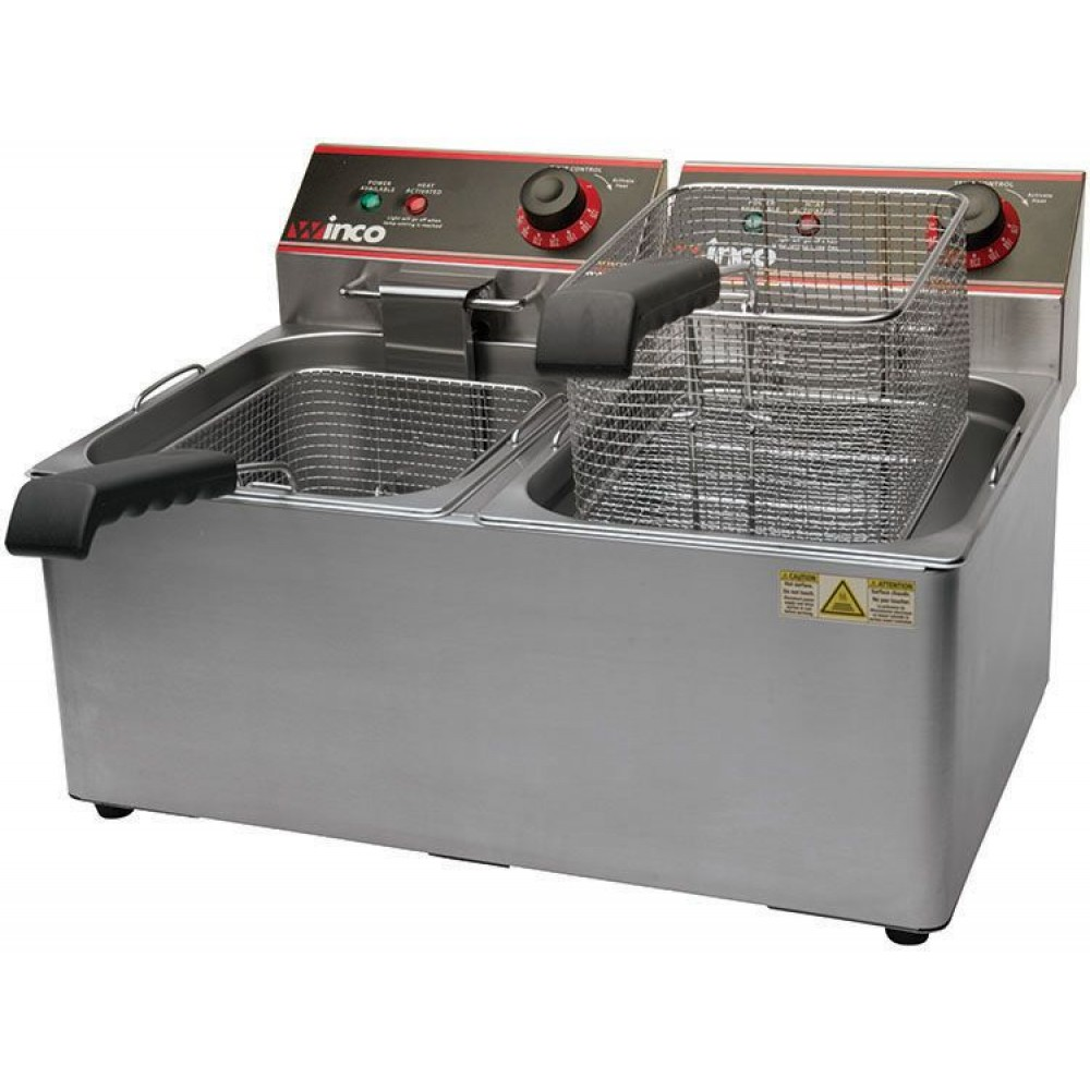 Winco EFT-32 Electric Countertop Twin Well Deep Fryer, 32 Lb. Capacity