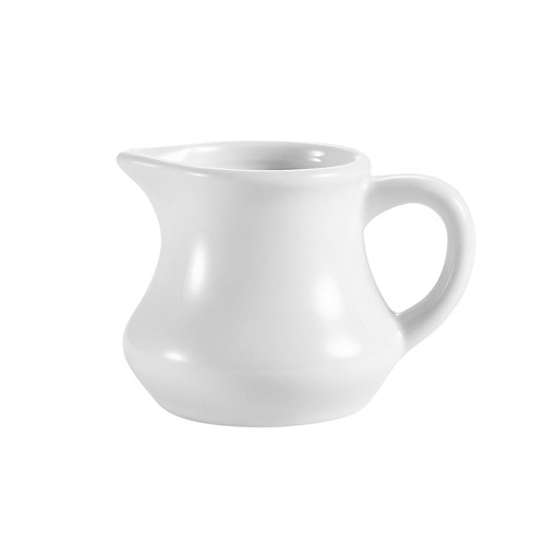 CAC China PC-4 Accessories Super White Porcelain Creamer with Handle 4 oz.