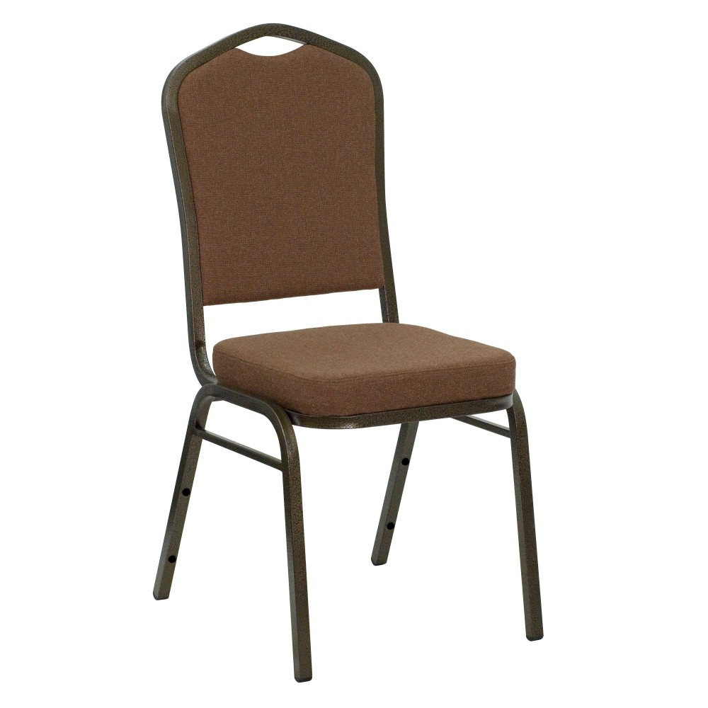 Crown Back Stacking Banquet Chair with Coffee Fabric and 2.5'' Thick Seat - Gold Vein Frame