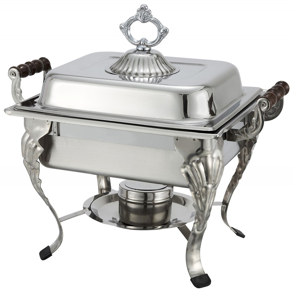 Crown Collection Half Size Chafer With Sculpted Wood Handles 4 Qt