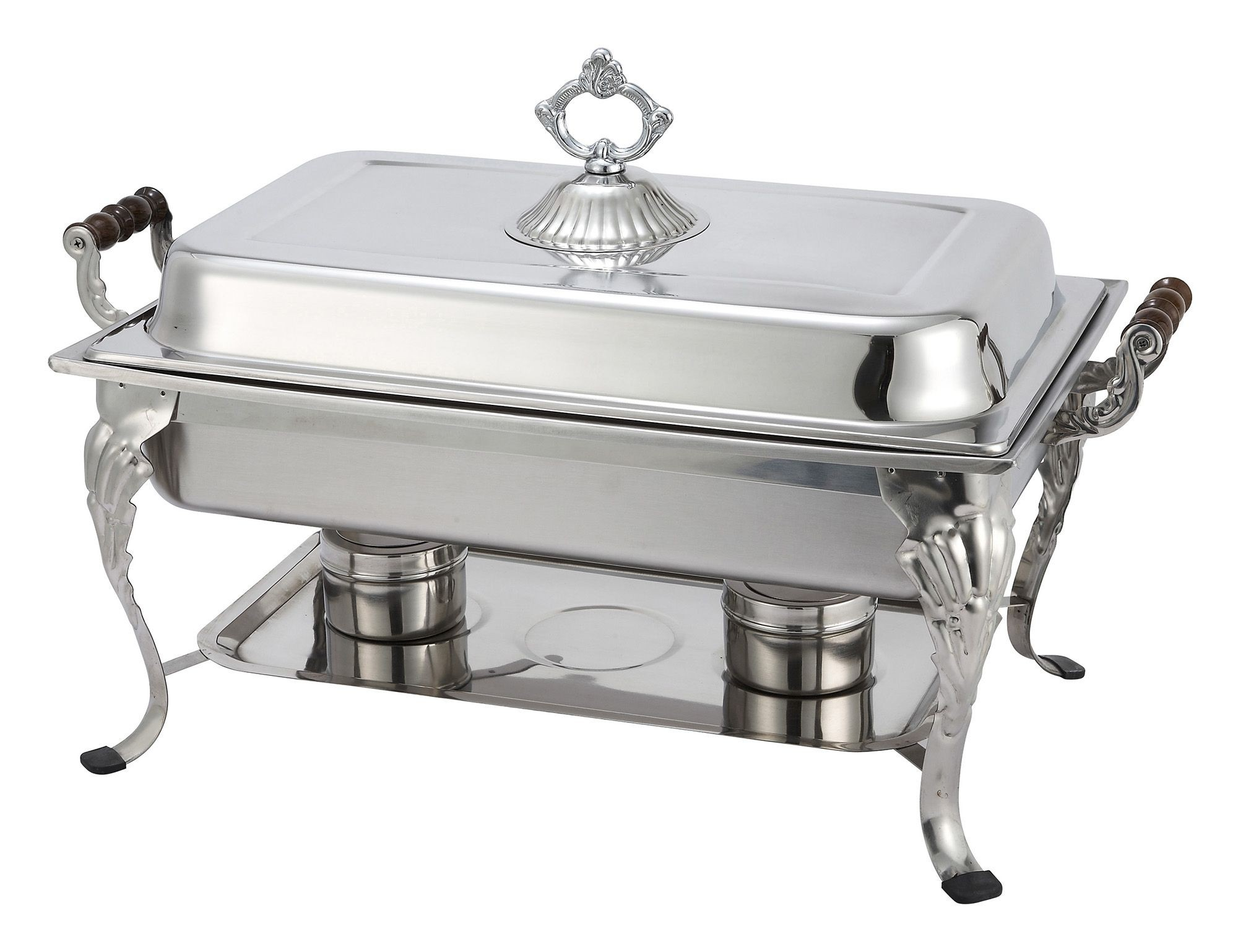 Winco 408-1 Crown Collection Full Size Chafer with Sculpted Wood Handles 8 Qt.