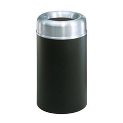 Crowne Collection Open Top Receptacle, Round, Steel, 30 gal, Aluminum/Green