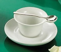 "CAC China PTC-4-S Party Collection Super White 2 oz. Cup, 4-1/2"" Saucer and Spoon Set"