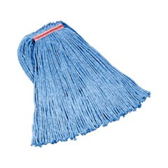 Cut-End Blend Mop Heads, Blue, 24 oz. Cotton/Synthetic, 1-in. Headband