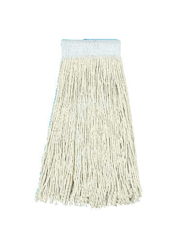 Premium Saddleback Cotton Mop Heads, 24 oz, White