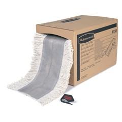 Cut To Length Dust Mops, Cotton, White, Cut-End, 5 x 40 Ft, 1 Box