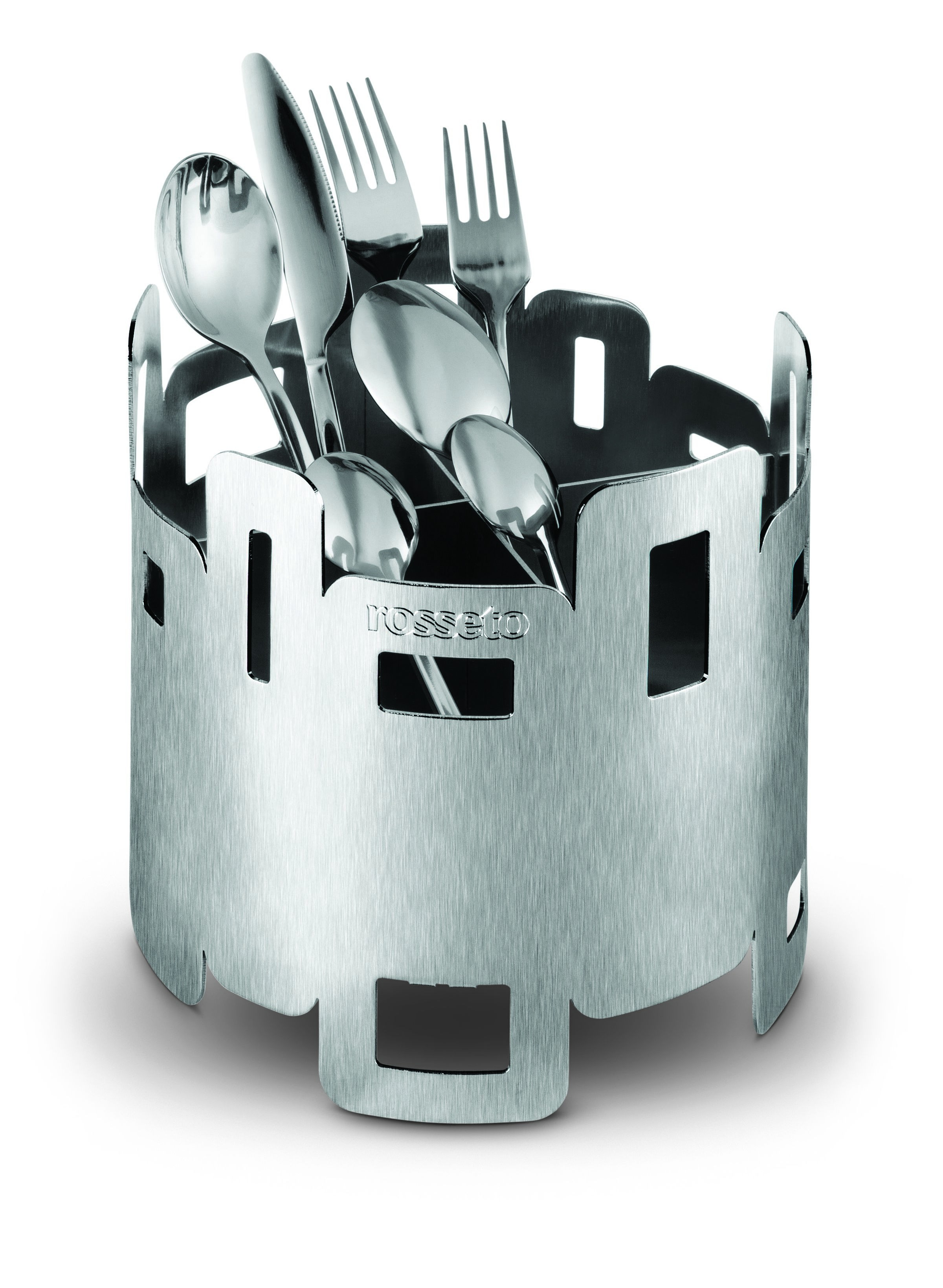 """Rosseto D42577 Stainless Steel 4 Compartment 7"""" Round Cutlery Sorter"""
