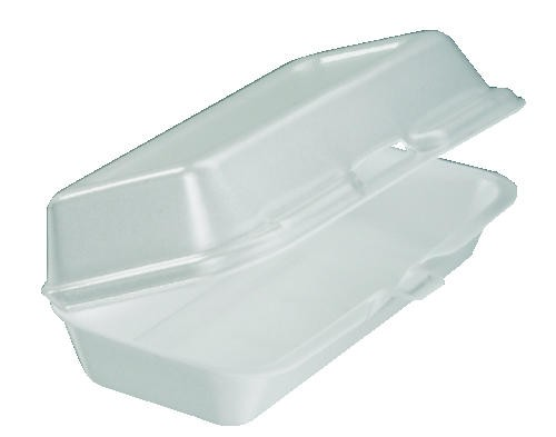 DART Foam Hinged Container Hot Dog- White