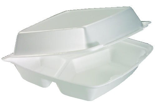 DART Foam Hinged Container Large 3 Compartment- White