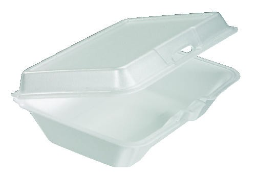 DART Foam Hinged Container Medium 1 Compartment- White