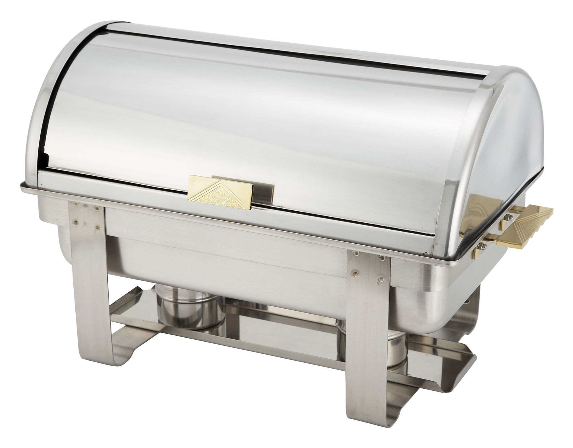Winco C-5080 Dallas Stainless Steel Roll Top Chafer with Gold Accents 8 Qt.