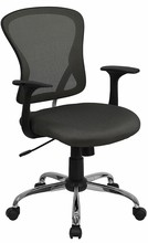 Flash Furniture H-8369F-DK-GY-GG Mid-Back Dark Gray Mesh Executive Office Chair with Chrome Base and Arms
