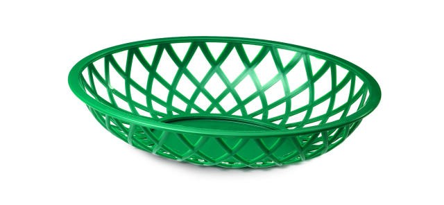 "TableCraft 1072DG Dark Green Lattice Plastic Oval Chicago Platter Basket 8-7/8"" x 7-1/2"" x 2"""