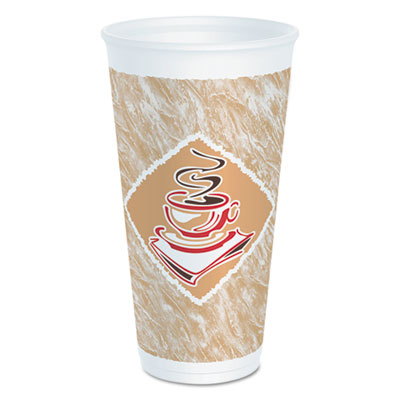 Dart Cafe G Foam Hot/Cold Cups, 20 oz., Brown/Red/White, 20/Pack