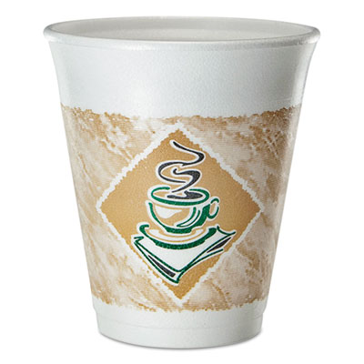 Dart Cafe G Foam Hot/Cold Cups, 8 oz., Brown/Green/White, 25/Pack