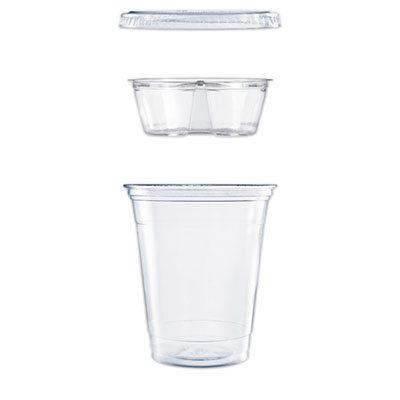 Dart Clear PET Cups with Single Compartment Insert, 12 oz., Clear, 500/Carton