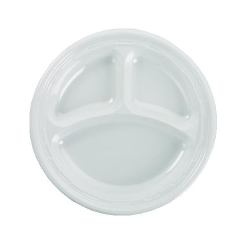 Dart Container Corporation DART Crystal Cap Foam Plate 10.25 In White 4/125 (Box of 500)