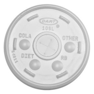 Dart Container Corporation DART Straw-Slot Lid- Translucent (fits 10 Oz Cups) (Box of 1000)