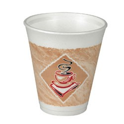 Dart Container Corporation Foam Hot/Cold Cups, 8 oz., Caf� G Design, White/Brown with Green Accents (Box of 900)