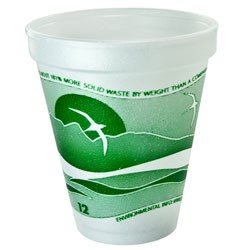 Dart Container Corporation Horizon Foam Cup, Hot/Cold, 12 oz., Green/White, 25/Bag (Box of 1000)