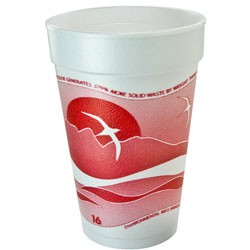 Dart Container Corporation Horizon Foam Cup, Hot/Cold, 16 oz., Printed, Cranberry/White, 25/Bag (Box of 1000)
