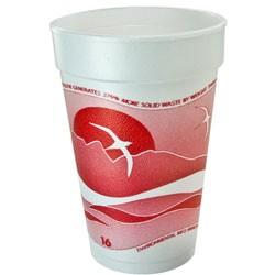 Dart Horizon Foam Cup, Hot/Cold, 16 oz., Cranberry/White, 1000/Carton