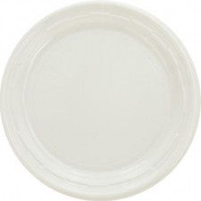 Dart Container Corporation Plastic Plates, 7 Inches, White, Round, 125/Pack (Box of 1000)