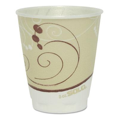 Dart Symphony Design Trophy Foam Hot/Cold Drink Cups, 8 oz., 50/Pack