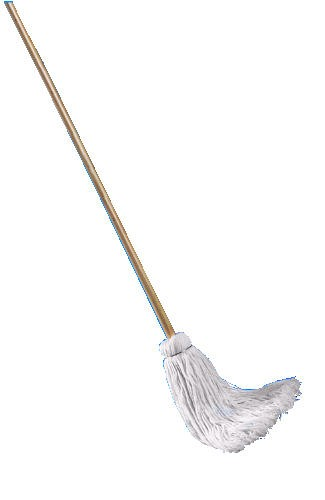 Deck Mop with 48 Wooden Handle, 16 Oz., Cotton Fiber Head